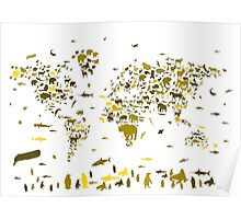world map animals 2 Poster