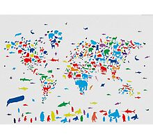 world map animals 3 Photographic Print