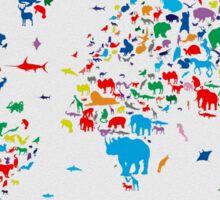 world map animals 3 Sticker
