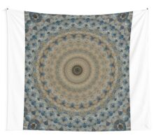Mandala in coffee and blue tones Wall Tapestry