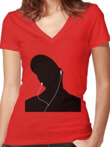 Tunes Women's Fitted V-Neck T-Shirt