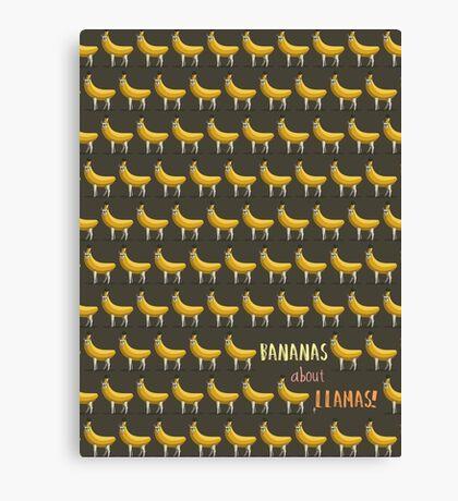 Bananas About Llamas Pattern Canvas Print