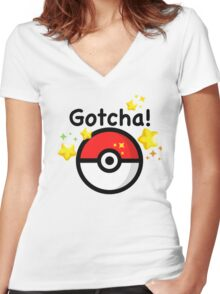 Pokemon go - Gotcha - pokeball Women's Fitted V-Neck T-Shirt