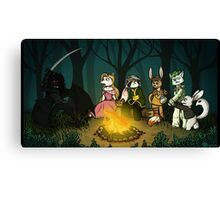 Campfire and Fireflies Canvas Print