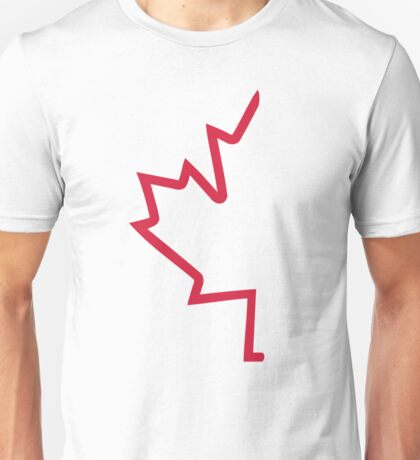 Red half maple leaf Unisex T-Shirt