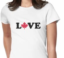 Canada maple leaf love Womens Fitted T-Shirt