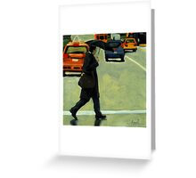 Rainy Day Business - Figurative City Oil Painting Greeting Card