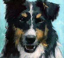 Ozzie - dog portrait by LindaAppleArt