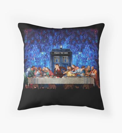 The Doctor Lost in the last Supper Throw Pillow