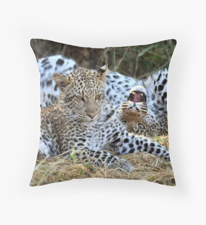 Leopard siblings playtime Throw Pillow