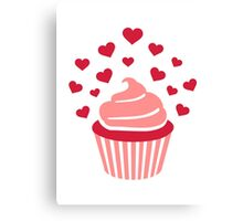 Cupcake red hearts Canvas Print