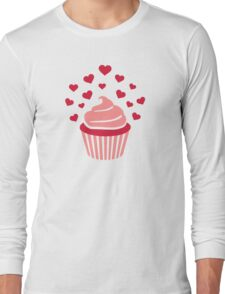 Cupcake red hearts Long Sleeve T-Shirt