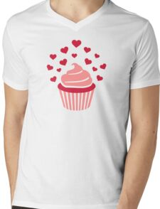 Cupcake red hearts Mens V-Neck T-Shirt