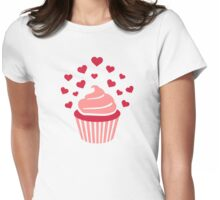 Cupcake red hearts Womens Fitted T-Shirt