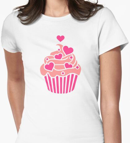 Cupcake hearts Womens Fitted T-Shirt