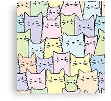 Silent Cats Pastel Canvas Print
