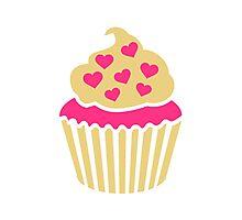 Cupcake pink hearts Photographic Print