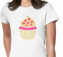 Cupcake pink hearts Womens Fitted T-Shirt