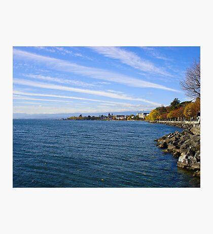 Lausanne Coast on Lake Geneva  Photographic Print