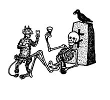 Spooky Skeleton Drinking Some Wine Photographic Print