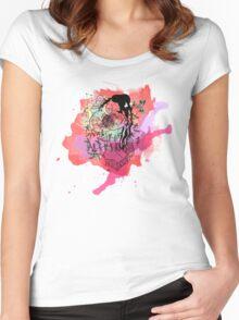 Boriken Taino Heart Watercolor Splash Women's Fitted Scoop T-Shirt