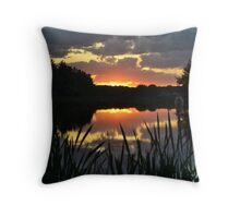 Sunset with cattails Throw Pillow
