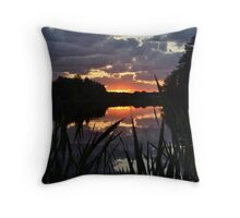 Sunset with cattails .2 Throw Pillow