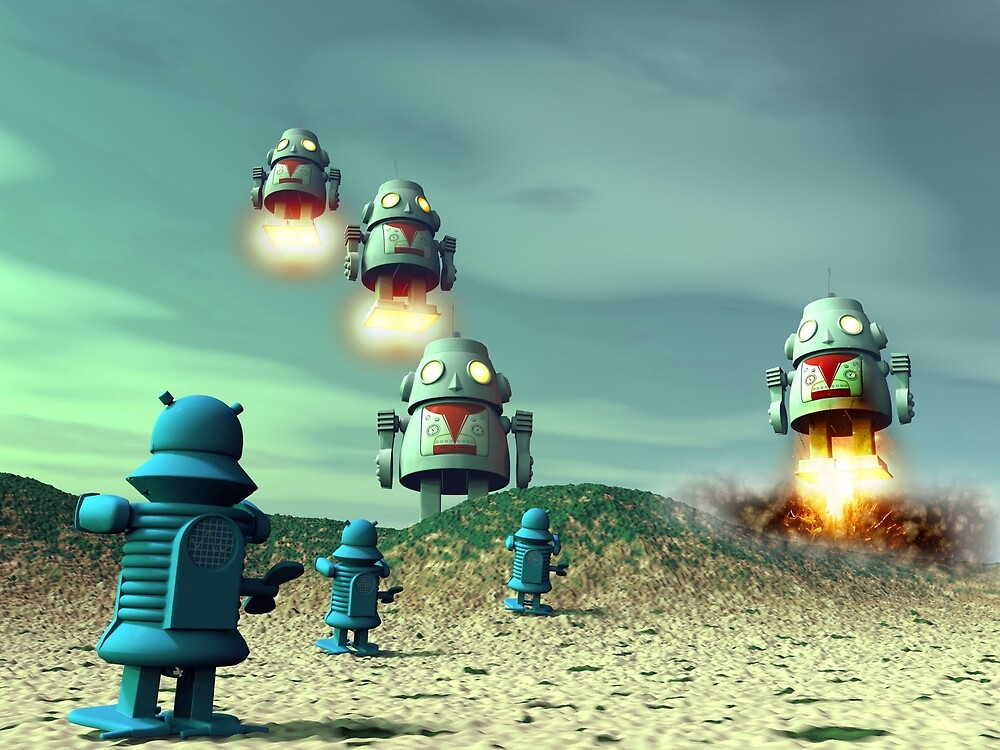 Robot Invasion From Above V2 by mdkgraphics