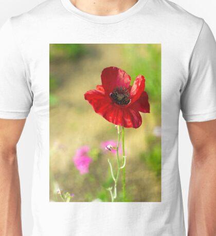 donker rode klaproos Unisex T-Shirt
