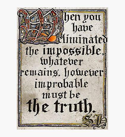 Classic Sherlock Calligraphy Photographic Print