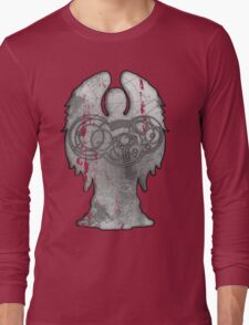 Weeping Angel Design with Circular Gallifreyan Long Sleeve T-Shirt