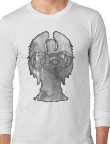 Weeping Angel Design with Circular Gallifreyan Long Sleeve T-Shirt