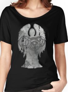 Weeping Angel Design with Circular Gallifreyan Women's Relaxed Fit T-Shirt