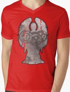 Weeping Angel Design with Circular Gallifreyan Mens V-Neck T-Shirt