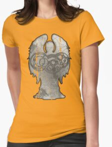 Weeping Angel Design with Circular Gallifreyan Womens Fitted T-Shirt