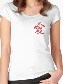 Naruto Gaara Love Symbol Women's Fitted Scoop T-Shirt