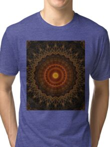 Mandala in brown, orange and red colours Tri-blend T-Shirt