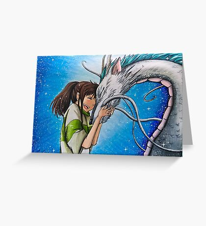 Spirited Away Haku and Chihiro Illustration  Greeting Card