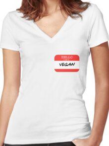 Hello I'm a Vegan Women's Fitted V-Neck T-Shirt
