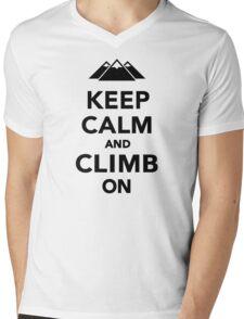 Keep calm climb on mountains Mens V-Neck T-Shirt