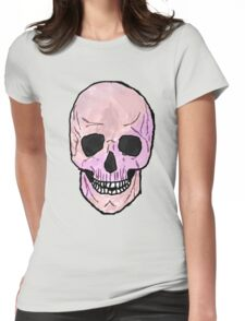 Pastel Pink Skull Womens Fitted T-Shirt