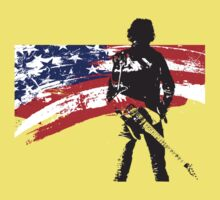 the rock star and us flag Kids Tee