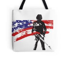 the rock star and us flag Tote Bag