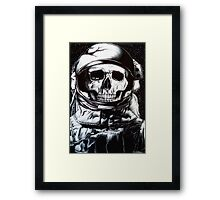 Space Astronaut Skeleton - Black and White  Framed Print