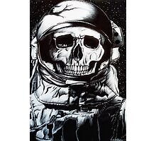 Space Astronaut Skeleton - Black and White  Photographic Print