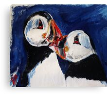 Puffin Wild Birds Fine Art Contemporary Acrylic Painting On Paper Canvas Print