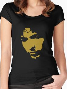 black and gold music legend silhouette Women's Fitted Scoop T-Shirt
