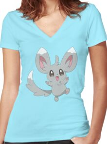 Minccino the Pokemon Women's Fitted V-Neck T-Shirt