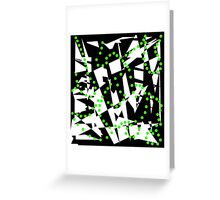 Green, black and white abstraction Greeting Card