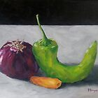 Red Onion, Carrot, and Chili Pepper by Pamela Burger